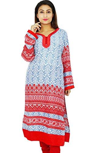 Diseñador indio de Bollywood mujeres étnico Rayón Kurti Top túnica del vestido de regalo para ella De blanco y rojo