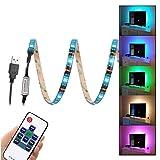 #8: WenTop USB Led Strip Lights 5V 5050 RGB Waterproof Black Strip Light 6.56ft(2M) 60leds Flexible Tape Light with RF Remote Controller for TV Back Lighting, Computer, Desk, Trucks, Cabinet and More