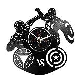 Captain America vs Iron Man Clock, Vinyl Record Wall Clock, Captain America Clock, Captain America Gift, Iron Man Clock, Iron Man Gift, Marvel Clock, Gift For Kids, Birthday Gift, Wall Clock Large
