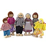 Gosear Family Finger Puppets, 6pcs Cute Poseable Mini People Action Figures Wooden Dolls Pretend Family Members Doll Toys for Children Kids Gift Home Decoration