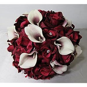 Burgundy Rhinestone Rose Calla Lily Bridal Wedding Bouquet & Boutonniere 3