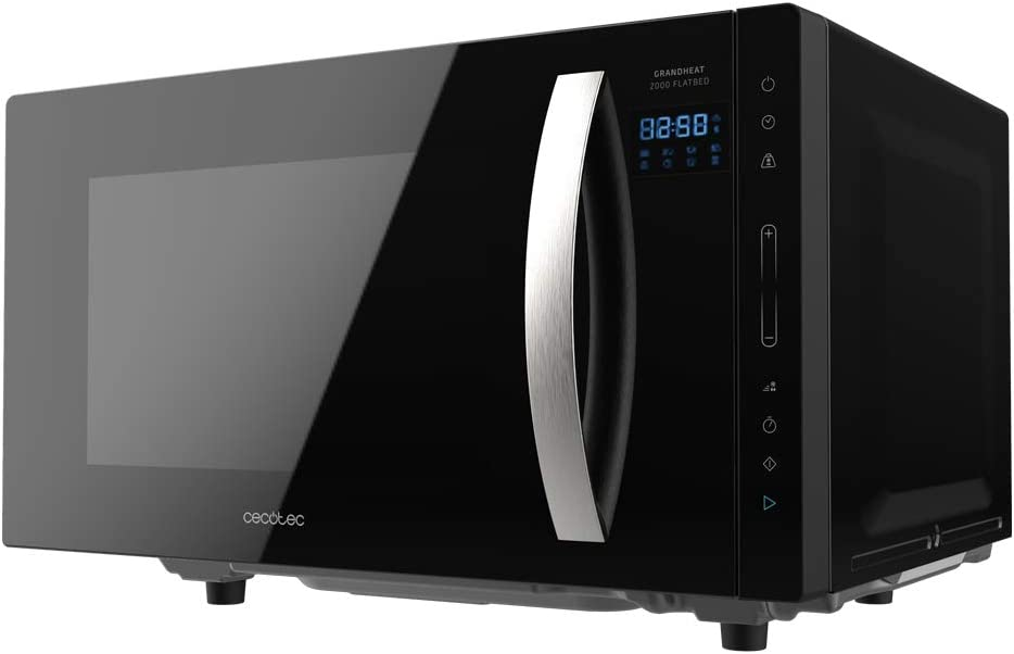 Cecotec Microondas sin plato GrandHeat 2300 Flatbed Touch Black. Capacidad 23 litros, Potencia 800 W, 8 Funciones preconfiguradas, Temporizador hasta 95 min