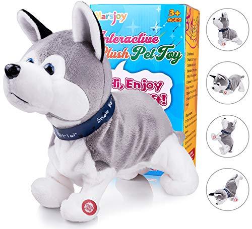 Marsjoy Husky Robot Toy Dog Electronic Dog Toy, Plush Stuffed Animal Dog Toy , Interactive Puppy Plush Animated Dog, Robot Dog Toy for Kids Toddlers Boys Girls Length 12
