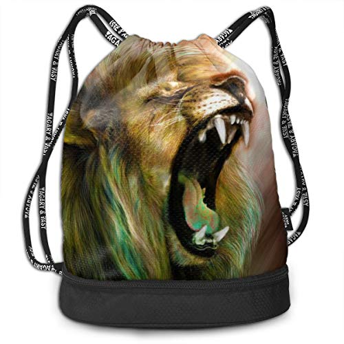 Address Verb Drawstring Backpack with Pocket Multifunctional Sturdy Roaring Lion Sackpack Sports Gym Shoulder String Bags]()
