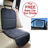 Just Pure Hut Child Car Seat Protector Mat - Auto Leather Saver Plus Includes Protective Baby Sunshade