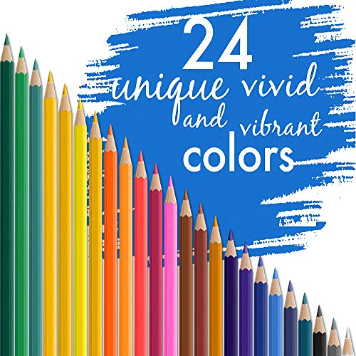 Colored Pencils with Soft Core for Adult Coloring Books Artist Drawing Sketching Crafting Shading,Vibrant Colors with Metal Box 24 Colors