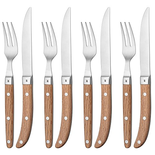 WMF Steak Cutlery Set Ranch Matte 8 Steak Knives Steak Fork Cromargan Stainless Steel Rust-Free Set Oak