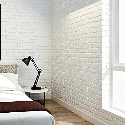 Papel Pintado Paredes Del Fondo 3d De Ladrillo Blanco Living Sala - Pared-ladrillo-blanco