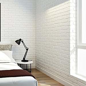 Papel pintado paredes del fondo 3d de ladrillo blanco living sala dormitorio ladrillo fondo de - Papel pared ladrillo ...