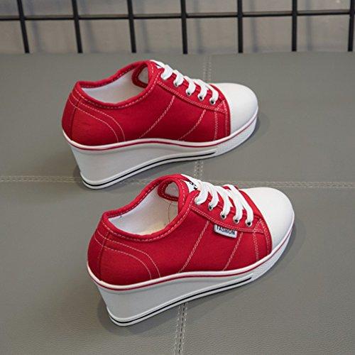 Compensé de en Rouge 43 Confortable Toile 35 Chaussures Fermeture JRenok Baskets Mode Femme Sneakers Sport Lacets Talon aqYZwv