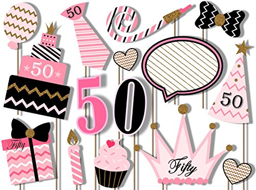 (50th Birthday Elegant Pink and Gold Photo Booth Props Kit - 20 Pack Party Camera Props Fully)