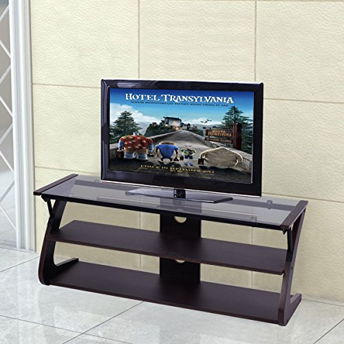 Comtemporary Tempered Glass Top TV Stand Entertainment Media Center Storage With Ebook