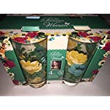 Pioneer Woman 16 oz Rose Shadow Glass Cooler Set Drinking Cups Tumbler Floral