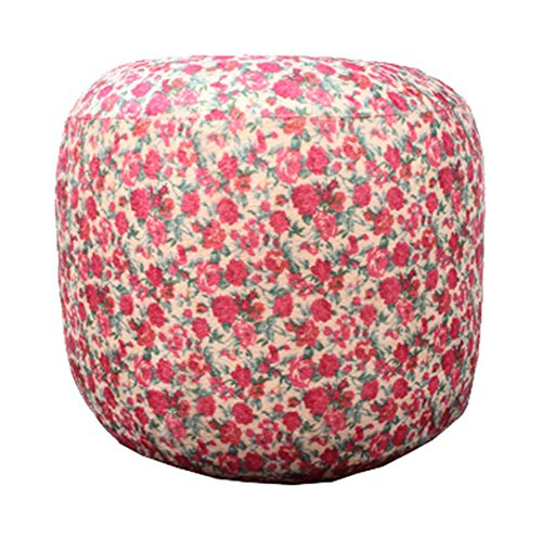 PANDA SUPERSTORE Lovely Floral Plush Inflatable Stool Portable Folding Chair Camping Seats for Kids or Adults