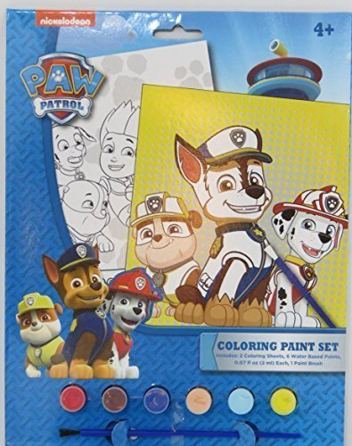 Paw Patrol Coloring Paint Set includes: 2 coloring sheets, 6 water based paints, and 1 paint brush Coastal Tower