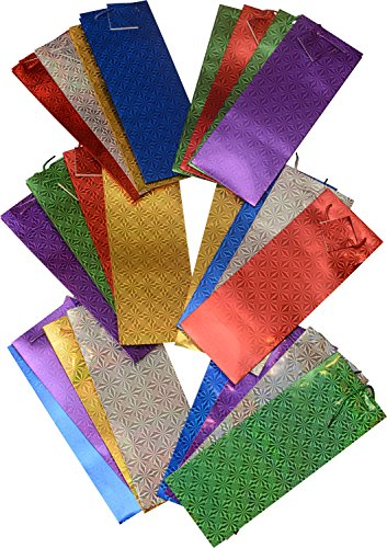Wine gift bags; 2 packs of 12 bags hologram design assorted colors; 4 of each color; 24pc value pack (Wine Gifts Christmas)