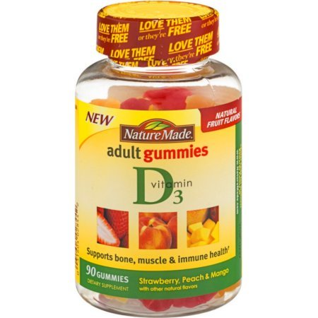 Nature Made Adult Gummies Vitamin D3, Value Size, 150 Count,strawberry,peach&mango(pack of 3)