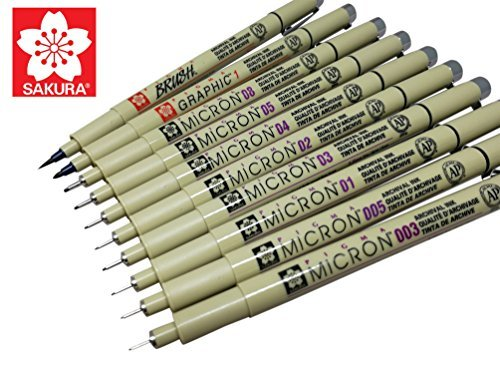 Sakura Pigma Micron 10 Fineliner pens Black Archival ink Artist drawing sketch pens (003, 005, 01, 02, 03, 04, 05, 08), Graphic 1 & brush pen set ()