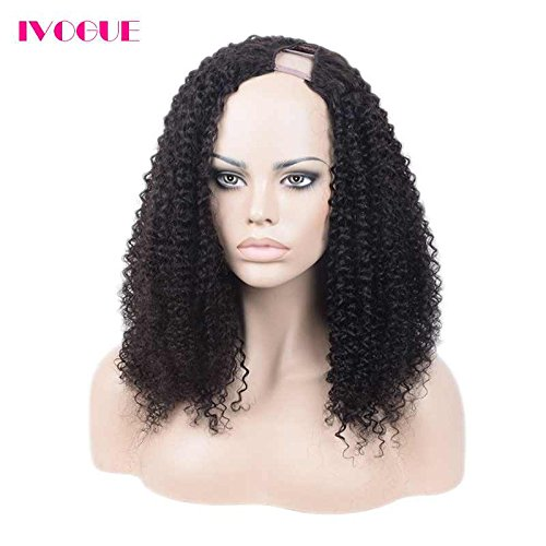 Human Hair U Part Wigs 180 Thick Density Afro Kinky Curly Upart Wig Mongolian Hair None Lace Human Hair Wig for Black Women with Combs or Clips Left Side Opening (18inch 180density) by iVogue Hair