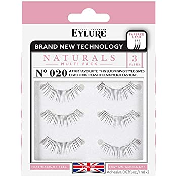 e316b29de30 Eylure Naturals False Eyelashes Multipack, Style No. 020, Reusable, Adhesive  Included, 3 Pair