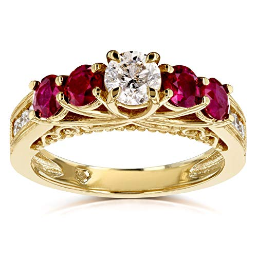 Diamond and Ruby Five Stone V-Prong Engagement Ring 1 4/5 CTW 14k Yellow Gold, 7