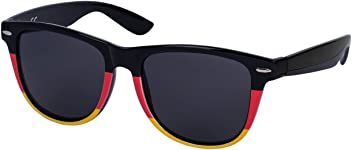 SIX Deutschland Sonnenbrille Coole Wayfarer Brille mit Deutschlandflagge in schwarz rot gelb Fanartikel 2018 (324-340)