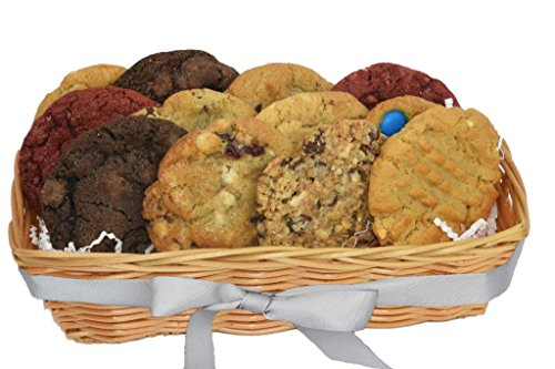 Cookies From Home - Tombstone Basket Freshly Hand Baked Cookie Gift Basket - 12 Vegan Cookies