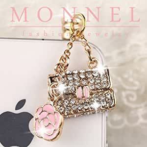 Ip564 Rose & Handbag Purse Anti Dust Plug Cover Charm for Iphone Android 3.5mm
