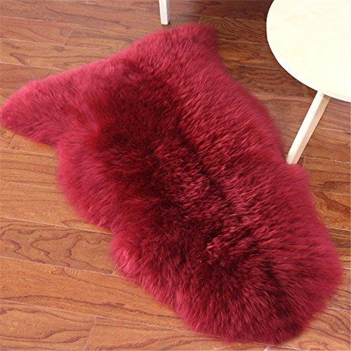 epskin Rug Wine Red Single Pelt Natural Fur - Sheepskin Rug Pad for Bedroom Living Room (Single Pelt/2ft x 3ft, Wine Red) ()