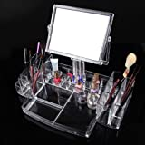 Clear acrylic makeup storage organizer with mirror