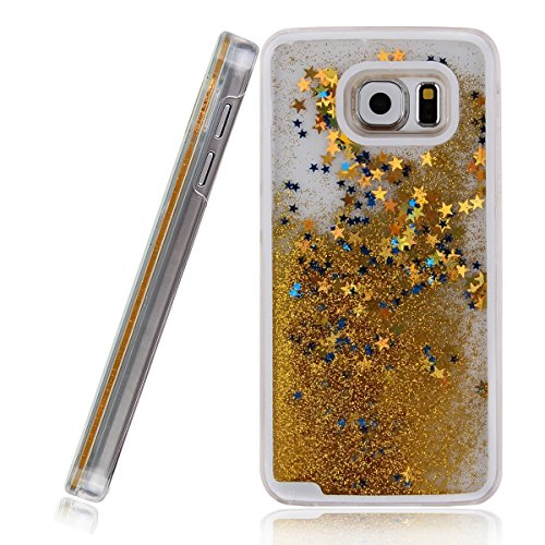 Galaxy S6 Edge Plus Case, MyckuuTMLiquid, Cool Quicksand Moving Stars Bling Glitter Floating Dynamic Flowing Case Liquid Cover for Galaxy S6 Edge Plus(gold)