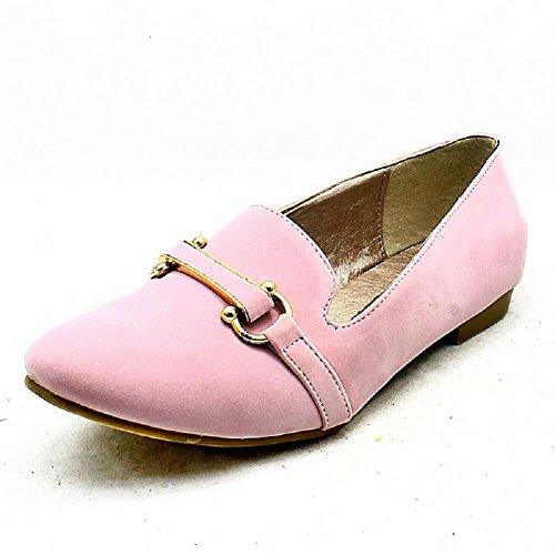 Damen Suedette flache Slipper Pumpen / Schuhe Rosa