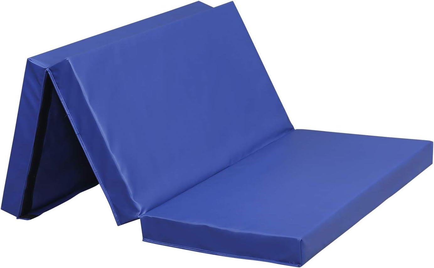 アウトドア ベーシック 4フィートx6フィートx4 超厚手 折りたたみ式 体操 タンブリング エクササイズ ジムマット ホーム用 PU-青
