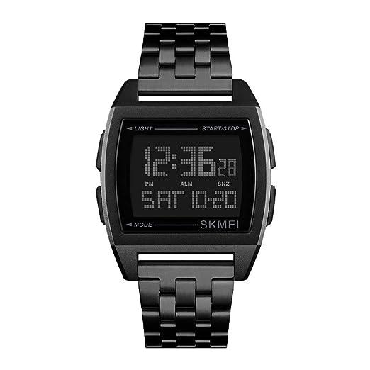 Relojes Pulsera Multifunción Outdoor Esfera Metálica Rectangular Digitale Relojes Hombre Correa de Acero Inoxidable Negocios Deportivo, Negro: Amazon.es: ...