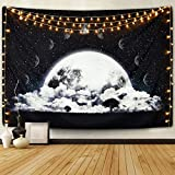 Moon Rising Horizon Tapestry, Moon Cloud Tapestry Starry Night Sky Tapestry Space Stars Tapestry Moon Phase Changes Tapestry for Living Room Bedroom