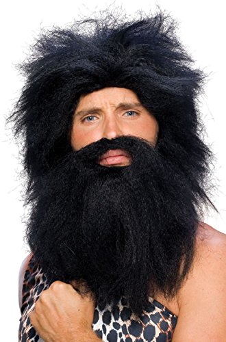 Costumes That Need A Beard (Adult Prehistoric Cave Man Costume Wig and Beard - Black)