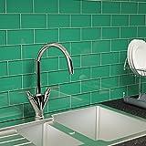 Giorbello Glass Subway Backsplash Tile, 3 x 6, Emerald Green, Case of 44 Tiles