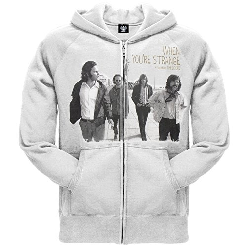 The Doors - Mens When Youre Strange Zip Hoodie Small White