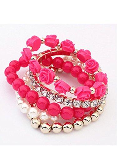 - Cuekondy Multilayer Beads Wrap Bracelets Stretch for Women Girls Teen 5 Pcs/Set Acrylic Rose Flower Round Pearl Shining Bangle Charm Jewelry (Hot Pink)