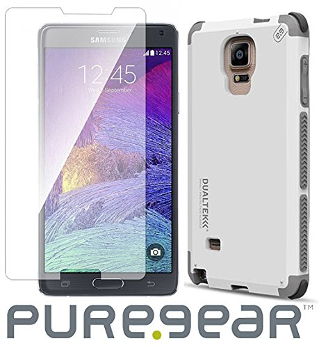 Arctic White Glass - Note 4 Case/Glass Combo, PureGear [Arctic White] Dualtek Extreme Rugged Case + Tempered Glass Screen Protector for Samsung Galaxy Note-4 (SM-N910)