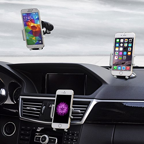 Best Car Phone Holder, Golden Colours Super 3 in 1 Universal Cell Phone Car Cradle & Mount Fits iPhone & Other Popular Brands - 3 Mounting Options - 360 Degree - Accessories Phones Cell