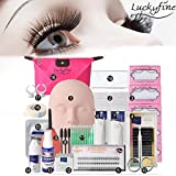 LuckyFine Pro 19pcs Eyelash Extension Kits Set False Lashes Tool Flat Head Curl