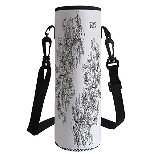 iPrint Water Bottle Sleeve Neoprene Bottle Cover,Zodiac Decor,Floral Images Pisces Fish House of Water Element Sensitivity Planet Sign,Black White,Fit for Most of Water Bottles ()