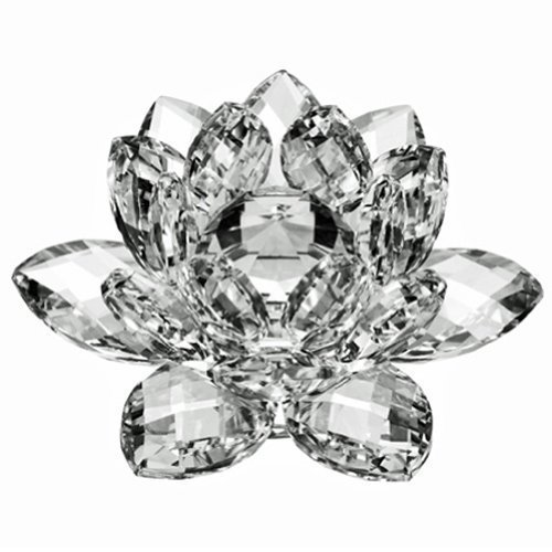 Amlong Crystal Crystal Lotus Flower with Gift Box, 5-Inch, Clear