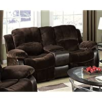 Masaccio Brown Loveseat With Console With Cup Holder by Acme Furniture