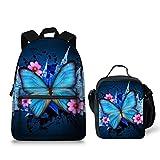 Blue Butterfly Lightweight Laptop Backpack School Bookbag Lunch Bag Work Hiking