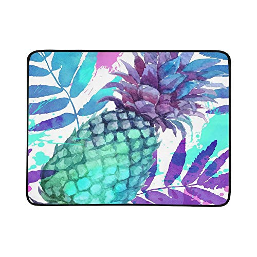 (ZXWXNLA Watercolor Painted Vivid Colors Pineapples and Lea Pattern Portable and Foldable Blanket Mat 60x78 Inch Handy Mat for Camping Picnic Beach Indoor Outdoor Travel)