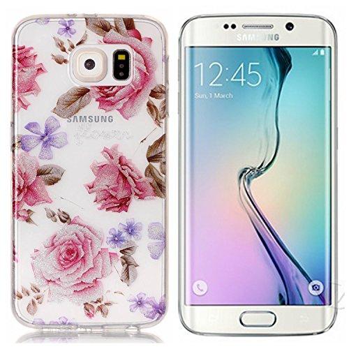 Funda Samsung Galaxy S6 , E-Lush Transparent Bling Suave Silicona TPU Carcasa Ultra Delgado Flexible Gel Parachoques Goma Mate Clear Glitter Case Cover Impresión patrón Bumper Amortigua Golpes Protect Rosa