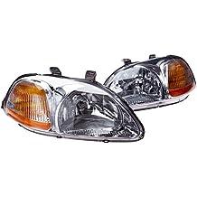 Spec-D Tuning 2LH-CV96-RS Honda Civic DX LX EX Ek9 2/3/4Dr Clear Chrome Head Lights Lamps Pair