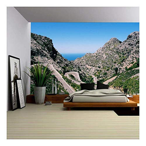(wall26 - Mountain Range and Curved Roads - Removable Wall Mural | Self-Adhesive Large Wallpaper - 100x144 inches)
